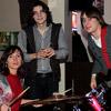 Барабанщик группы с гостьей вечера и бас-гитаристом Алексеем