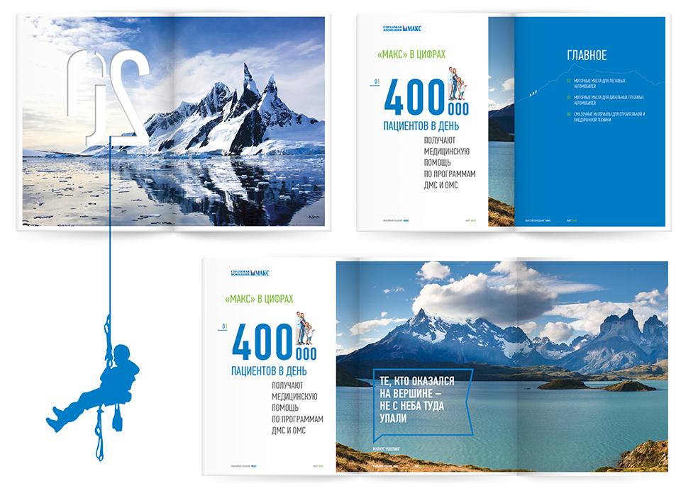 Дизайн и вёрстка полос для годового отчёта страховой компании